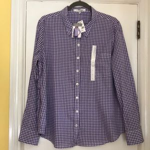 Purple gingham long sleeve Ellen Tracy shirt
